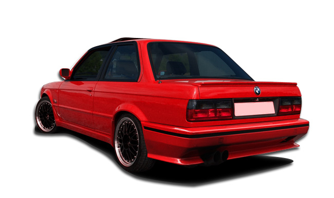 1984-1991 BMW 3 Series E30 2DR 4DR Duraflex Evo Look Rear Bumper Cover - 1 Piece